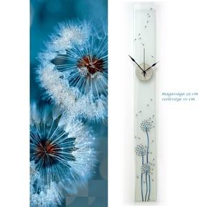Kék pitypang xxl üveg óra, Otthon & lakás, Lakberendezés, Esküvő, Nászajándék, Falióra, óra, Üvegművészet, Festett tárgyak, Ez az óra kézzel festett, különleges formája és mérete mindenképpen felhívja mindenkinek a figyelmét..., Meska
