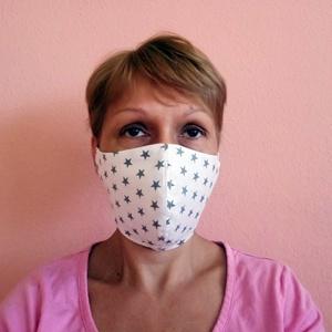 Egészségügyi szájmaszk betét elhelyezés lehetőségével, arcmaszk, mosaható, fehér csillagos (cecameca) - Meska.hu
