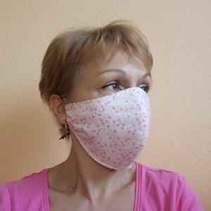 Rózsaszín mintás pamut szájmaszk betét elhelyezés lehetőségével,  arcmaszk,  mosható egészségügyi maszk, NoWaste, Táska, Divat & Szépség, Textilek, Ruha, divat, Maszk, szájmaszk, Szépség(ápolás), Mosható, vasalható, formatartó, újra felhasználható, igényes kivitelezésű szájmaszk, kétrétegű pamut..., Meska