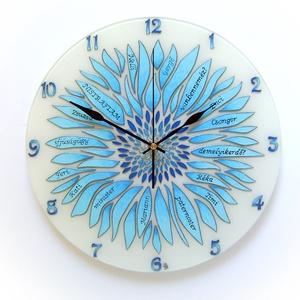 Kék virág falióra felirattal - ballagásra, pedagógusoknak, munkahelyi búcsúajándékba, Otthon & lakás, Lakberendezés, Falióra, óra, Esküvő, Nászajándék, Üvegművészet, Festett tárgyak, Egyedi, kézzel festett, üveg óra.\n\nÚgy álmodtam meg, hogy alkalmas legyen ballagási ajándékként, vag..., Meska