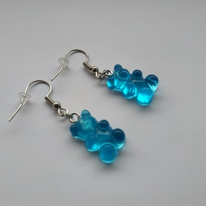 Kék  gumimaci fülbevaló, Ékszer, Fülbevaló, Lógó fülbevaló, Ékszerkészítés, Valósághű gumimaci fülbevaló kék színben. , Meska