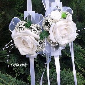 Csuklódísz fehér habrózsával , Esküvő, Karkötő & Csuklódísz, Ékszer,  Divatos kiegészítője az esküvőknek a csuklódísz. Adhatjuk a hölgy tanúnak, örömszülőknek, de a kise..., Meska