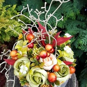 Őszi színek harmóniája - kaspós asztali dísz  (Ceffa) - Meska.hu