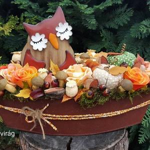 """Őszi színek harmóniája - asztali dísz csónak alakú bádog kaspóban, Otthon & Lakás, Asztaldísz, Dekoráció, """"Itt van az ősz, itt van ujra""""  Petőfi Sándor versének ide vágó sorával köszöntjük az őszt.  Az első..., Meska"""