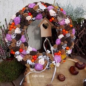 Színes - vidám ajtódísz nagy, Otthon & Lakás, Ajtódísz & Kopogtató, Dekoráció, Ez a koszorú 30 cm nagyságú   Kisebb - nagyobb termések, száraz virág alkotja ezt a szalma alapra ké..., Meska