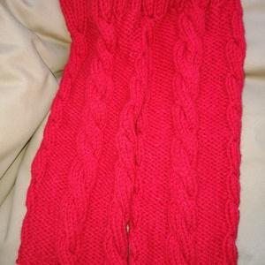 Piros csavart mintás kézi kötésű pamut lábszármelegítő eladó