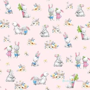 Ovis lepedő - nyuszis, Ovis lepedő, Ovis zsák & Ovis szett, Játék & Gyerek, Varrás, Kedves, lányos textil aranyos nyuszis mintával.\n\nA lepedő több méretben is kérhető, négy sarkán gumi..., Meska
