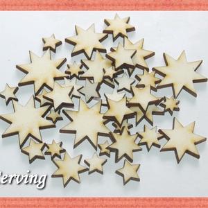 Fa csillag - 40 db négy méretben - 7.5 Ft/db, Dekorációs kellékek, Fa, Famegmunkálás, Fából készült natúr fa csillagok.\nAz ár 40 db-ra együtt értendő (mind a 4 méretből 10-10 db).\n\nMéret..., Meska