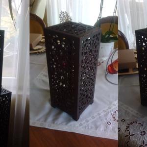Marokkói mintás asztali lámpa, hangulatvilágítás, Hangulatlámpa, Lámpa, Otthon & Lakás, Famegmunkálás, Kellemes, izgalmas, romantikus hangulatot árasztó asztali lámpa, dió színre lepácolva. \n4W -os LED é..., Meska