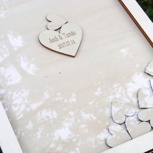 """Különleges esküvői vendégkönyv, Vendégkönyv, Emlék & Ajándék, Esküvő, Famegmunkálás, Fából készült esküvői \""""vendégkönyv\"""", középen rögzített, nagyobb méretű szívvel, melyre rágravírozzuk..., Meska"""