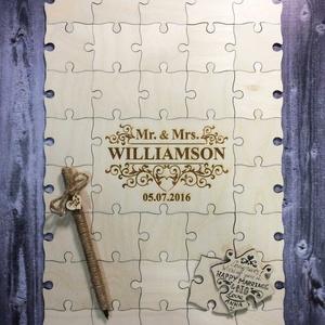 Esküvői vendégkönyv puzzle darabkákból, Vendégkönyv, Emlék & Ajándék, Esküvő, Famegmunkálás, 60 db fából (4mm -es rétegelt lemezből) készített puzzle darabok, amelyek egymáshoz passzolnak, ille..., Meska