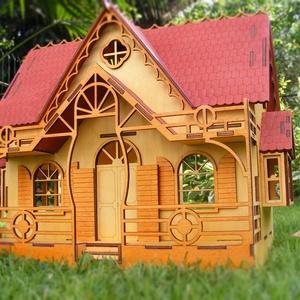 Babaház  fából , Babaház, Baba & babaház, Játék & Gyerek, Famegmunkálás, Fából készített, festett, bútorozható babaház, ajtóval, három oldalán ablakokkal. Hátul nyított, így..., Meska