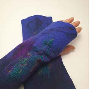 """nemez kézmelegítő 2 türkiz lila\"""", Táska, Divat & Szépség, Ruha, divat, Sál, sapka, kesztyű, Kesztyű, Nemezelés, 100 % ausztrál merinó gyapjúból és selyemből  készült egyedi kézmelegítő . Iparművész tervezés ami n..., Meska"""