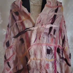 """nemezelt selyem sál \"""" rózsaszín rácsos\"""", Táska, Divat & Szépség, Ruha, divat, Sál, sapka, kesztyű, Sál, Nemezelés, Selyemfestés, 100 % selyem muszlin és a legfinomabb  ausztrál  merinói gyapjúból készült sál . Egyedi iparművész a..., Meska"""