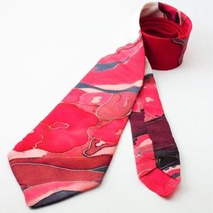 nyakkendő valódi hernyóselyem piros és fehér, Nyakkendő, Férfi ruha, Ruha & Divat, Selyemfestés, 100% selyemből készült, kézzel festett egyedi tervezésű különleges férfi nyakkendő. A nyakkendő desi..., Meska