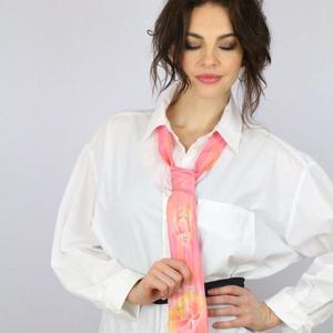 nyakkendő pasztell rózsaszín hernyóselyem unisex , Nyakkendő, Férfi ruha, Ruha & Divat, Selyemfestés, 100% selyemből készült, kézzel festett egyedi tervezésű különleges férf nyakkendői ,de nőknek sem ti..., Meska