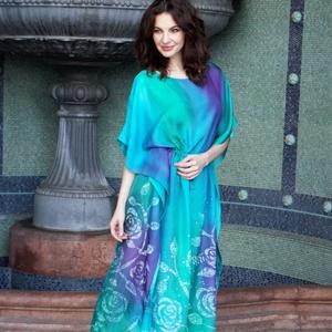 türkiz hernyóselyem ruha kézzel festve, Alkalmi ruha & Estélyi ruha, Női ruha, Ruha & Divat, Selyemfestés, Professzionális gőzölős festékkel , kézzel festett , 0,8-as vastagságú selyemből egyedileg tervezett..., Meska