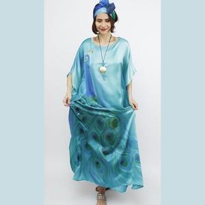 SELYEM RUHA TÜRKIZ PÁVASZEMES MINTÁVAL, Ruha & Divat, Női ruha, Alkalmi ruha & Estélyi ruha, Selyemfestés, 100% selyem szatén  alkalmi ruha világos türkiz kék pávás mintával , kizárólag kézzel festett profes..., Meska