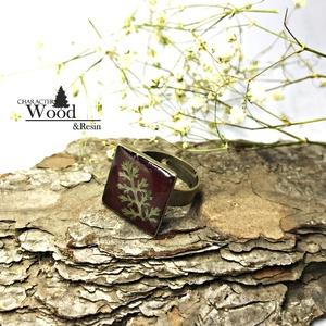 Bíborlevél kocka gyűrű, Ékszer, Gyűrű, Esküvő, Nászajándék, Ékszerkészítés, Élénk bíbor gyantára illesztettünk egy erdei páfrányt. Mindennapi viseletre tökéletes társ.\nBronz al..., Meska