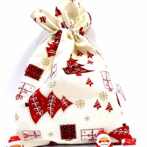 Mikulászsák - karácsonyi ajándékzsák, Karácsony & Mikulás, Mikulás, Varrás, Textil Mikulás/karácsonyi ajándék zsák. Az ünnep elmúltával is felhasználható apró tárgyak tárolásár..., Meska