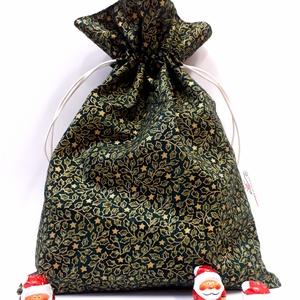 Mikulászsák - karácsonyi ajándékzsák, Karácsony & Mikulás, Karácsonyi csomagolás, Varrás, Textil Mikulás/karácsonyi ajándék zsák. Az ünnep elmúltával is felhasználható apró tárgyak tárolásár..., Meska
