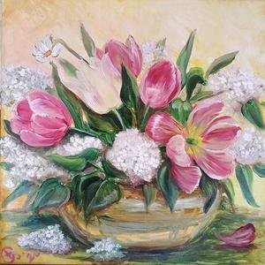 Fehér orgona tulipánokkal csíkos vázában - olaj csendélet, Olajfestmény, Festmény, Művészet, Festészet, Ezt a festményt a Balatonnál szedett kerti virágaimból összeállított csokorról festettem a 2020. tav..., Meska