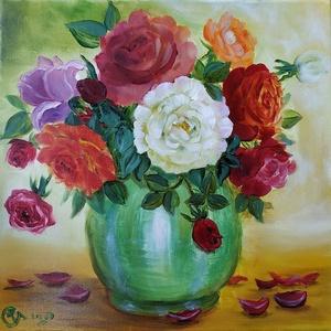 Májusi rózsacsokor - piros, lila, narancs és fehér rózsák zöld mázas vázában - olaj csendélet, Olajfestmény, Festmény, Művészet, Festészet, A Balatonnál különféle színű rózsákból összeállított csokorról festettem a 2020. tavaszán a karantén..., Meska