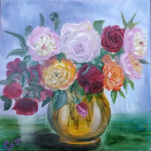 Májusi rózsacsokor peóniákkal - rózsák és pünkösdi rózsák sárga üveg vázában - olaj csendélet, Olajfestmény, Festmény, Művészet, Festészet, Különféle színű kerti rózsáimból és peóniákból összeállított csokorról festettem a 2020. tavaszán a ..., Meska