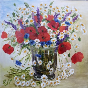 Pipacs, kamilla, búzavirág és zsálya - réti csokor üveg vázában - olaj csendélet, Otthon & lakás, Dekoráció, Képzőművészet, Festmény, Olajfestmény, Lakberendezés, Falikép, Kép, Festészet, Alsóörsi réteken szedett kamilla, pipacs, búzavirág és zsálya csokor ihlette ezt a festményt, melyet..., Meska