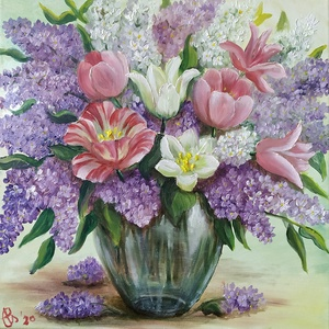 Orgonacsokor tulipánokkal üveg vázában - olaj csendélet, Otthon & lakás, Dekoráció, Képzőművészet, Festmény, Olajfestmény, Lakberendezés, Falikép, Kép, Festészet, A Balatonnál szedett orgona és a kertünkből származó tulipánokból álló csokor ihlette ezt a festmény..., Meska