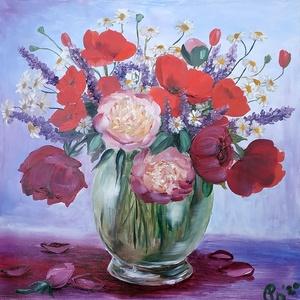 Májusi virágcsokor pipaccsal, rózsákkal, zsályával és pünkösdi rózsával, kamillával - olaj csendélet, Olajfestmény, Festmény, Művészet, Festészet, A Balatonnál szedett pipacsból, zsályából, kamillából és a kertünkből származó rózsákból és peóniákb..., Meska