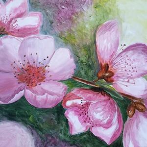 Mandulavirágok - akril csendélet, Otthon & lakás, Dekoráció, Képzőművészet, Festmény, Lakberendezés, Falikép, Kép, Akril, Festészet, Mandulavirágos fotómról festettem ezt az akril festményt pár éve. \nA kép széleit is befestettem, azo..., Meska