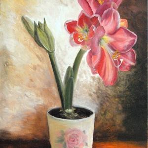 Amarillisz varázslat - olaj csendélet, Olajfestmény, Festmény, Művészet, Festészet, Az első amarillisz, amit megvettem magamnak pár éve, mert annyira megragadott a virágboltban! Óráról..., Meska