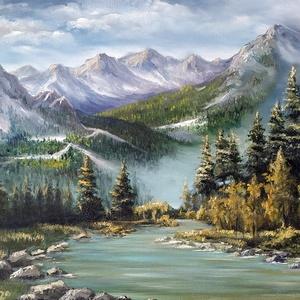Hegyi patak az örökzöldek között - olaj tájkép 70x50cm, Otthon & lakás, Dekoráció, Képzőművészet, Festmény, Lakberendezés, Falikép, Kép, Olajfestmény, Festészet, Többször jártunk az elmúlt években Ausztriában, nagyon szeretem a hegyeket és hegyi patakokat, ezt t..., Meska