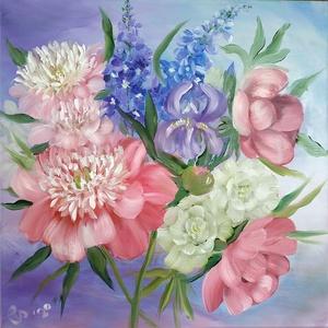 Peóniák, szarkaláb, nőszirom és fehér rózsák  - olaj csendélet, Olajfestmény, Festmény, Művészet, Festészet, Kertünkben szedett pünkösdi rózsákról, fehér színű rózsákról, szarkalábról és nősziromról készült ol..., Meska