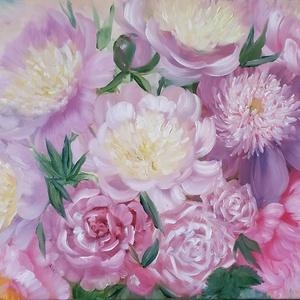 Pasztell rózsaszín peóniák és rózsák  - olaj csendélet, Olajfestmény, Festmény, Művészet, Festészet, Saját kerti peóniáimat és rózsáimat örökítettem meg 2020. májusában.  A kedvenc virágaim, illatuk és..., Meska