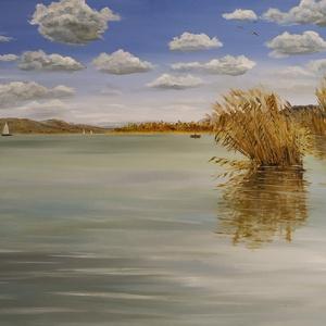 Csopaki öböl ősszel - olaj tájkép 80x60cm, Otthon & lakás, Dekoráció, Képzőművészet, Festmény, Lakberendezés, Kép, Olajfestmény, Festészet, Ezt a festményt csónakból festettem (legalábbis ott kezdtem el, majd később már otthon fejeztem be.)..., Meska