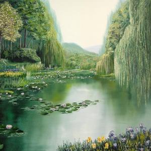 Mennyei tó - olaj tájkép 130x90cm, Otthon & lakás, Dekoráció, Képzőművészet, Festmény, Lakberendezés, Kép, Olajfestmény, Festészet, Ha egy nagy nappaliba keresel szép festményt, akkor jó helyen jársz! Claude Monet a kedvenc festőim ..., Meska
