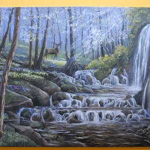 Mint szarvas hűs vizek után... - olaj tájkép szarvassal és vízeséssel - 80x60cm, Olajfestmény, Festmény, Művészet, Festészet, Ezt a festményt vízesés-tanulmányként kezdtem el, de közben eszembe jutott egy vers a Bibliából, és ..., Meska