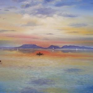Badacsonyi naplemente Fonyódról - olaj tájkép 80x60cm, Olajfestmény, Festmény, Művészet, Festészet, Ezt a festményt egy gyönyörű fotóról festettem, de régebben többször jártam Fonyódon és a hegyről a ..., Meska
