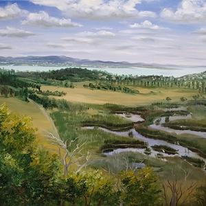 Tihany, Külső-tó az Őrtorony Kilátóból - olaj tájkép 80x60cm, Olajfestmény, Festmény, Művészet, Festészet, Idén elmentünk a tihanyi Őrtorony Kilátóhoz, ahonnan gyönyörű a kilátás a Sajkodi-öböltől kezdve min..., Meska