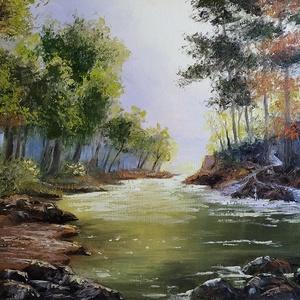 Őszülő színpompás lombok és fényjáték patakkal - olaj tájkép 70x50cm, Művészet, Festmény, Olajfestmény, Festészet, Nagyon szeretem a hegyeket és hegyi patakokat, mert Ausztriára emlékeztet, ezt tükrözi ez a festmény..., Meska