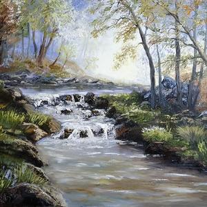 Fényárban úszó őszi táj csobogó hegyi patakkal  - olaj tájkép 80x60cm (ChillArt) - Meska.hu