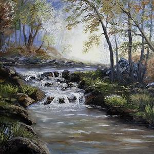 Fényárban úszó őszi táj csobogó hegyi patakkal  - olaj tájkép 80x60cm, Művészet, Festmény, Olajfestmény, Festészet, Ez a festményem 2018-ban vízesés- és fénytanulmányként készült. Próbáltam megragadni és érzékeltetni..., Meska