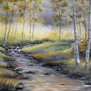 Őszi nyírfaerdő patakkal - olaj tájkép 70x50cm, Művészet, Festmény, Olajfestmény, Festészet, Nyírfaerdő tanulmányként festettem ezt a képet, mely gyönyörű aranysárgás, szürkés és zöldes színekb..., Meska