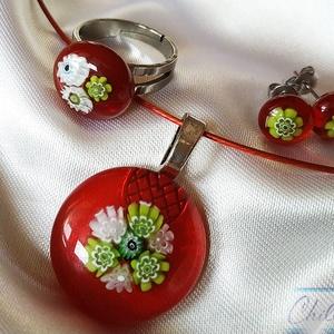 Nemzeti színű orvosi acél üvegékszer szett- piros, fehér, zöld millefiori virágos medál, stiftes füli és gyűrű  - Meska.hu