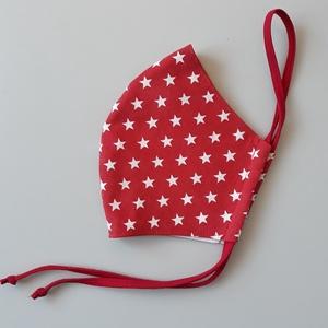 Piros- fehér csillag mintás szájmaszk, textil szájmaszk, többször használható szájmaszk, Táska, Divat & Szépség, Szépség(ápolás), Egészségmegőrzés, Maszk, szájmaszk, Varrás, Piros alapon fehér csillag mintás, textil szájmaszk.\nTöbbször használatos, környezetbarát.\nA külső a..., Meska