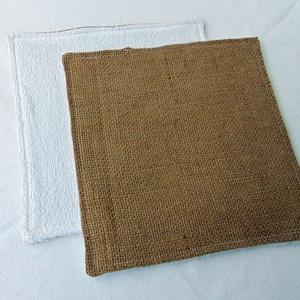Konyhai törlőkendő/ juta- frottír, NoWaste, Textilek, Kendő, Varrás, A törlőkendő két oldala más-más anyagból készült. Az egyik pamut vászon, a másik pamut frottír.\nTörl..., Meska