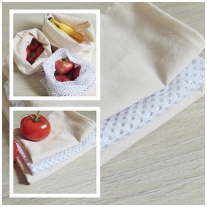 Zöldség-gyümölcs textil zsák csomag (3 db/ cs)  / ökozsák, bevásárló zsák, környezetbarát zacskó, Zöldség/Gyümölcs zsák, Bevásárlás & Shopper táska, Táska & Tok, Varrás, Környezetbarát, gyümölcsös, zöldséges bevásárló tasakok\n- 2 db textil zsák, 1 db hálós zsák\n- többsz..., Meska