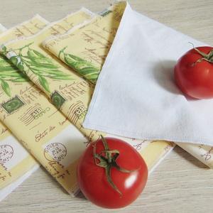 """Konyhai textil törlőkendő csomag ( 4 db/ csomag ) / papírmentes, \"""" nem szilvia\"""" konyhai törlőkendő, Konyharuha & Törlőkendő, Konyhafelszerelés, Otthon & Lakás, Varrás, - Konyhai textil törlőkendő csomag\n- olíva mintás\n- kiváló nedvszívó, mintás pamut vászon és fehér p..., Meska"""
